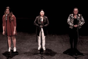 (Left to Right) Natalie, Maggy & Emma - performing our slam poetry piece